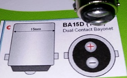 Bajonet led lamp BA15D Dual Contact 15 stuks.