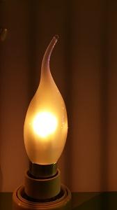 Tipkaars led lamp voor kroonluchter wit glas
