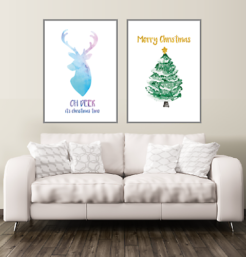 Oh Deer Christmas poster XL 70x100 cm