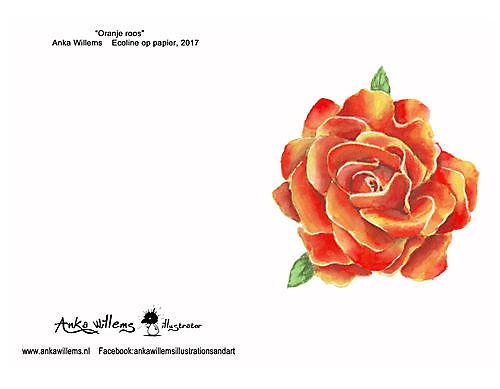 Kaart oranje roos