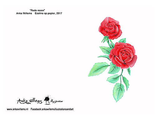 Kaart rode rozen
