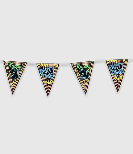 Neon party vlag - happy 21