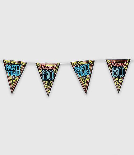 Neon party vlag - happy 60