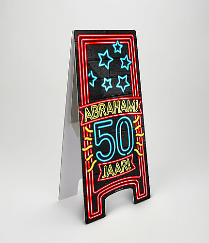 Neon- warning -signs - Abraham  -50- jaar