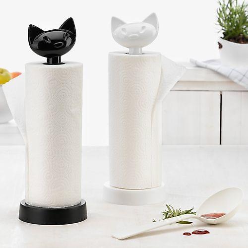 Koziol keukenrolhouder Miaou zwart
