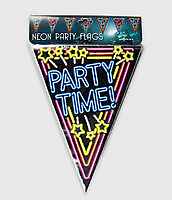 Neon party vlag - party time