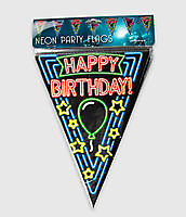 Neon party vlag - Happy birthday