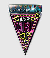 Neon party vlag - it's a girl